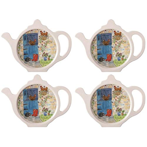 Hanging Out Teabag Tidy, Melamine Teabag Caddy Holder Plate, 4 inch, Set of 4 ()
