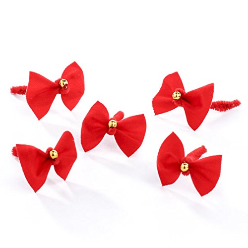 - Package of 40 Tiny Christmas Red Velvet Bows with Gold Bead Center for Tree Trim, Package Embellishing and Decorating
