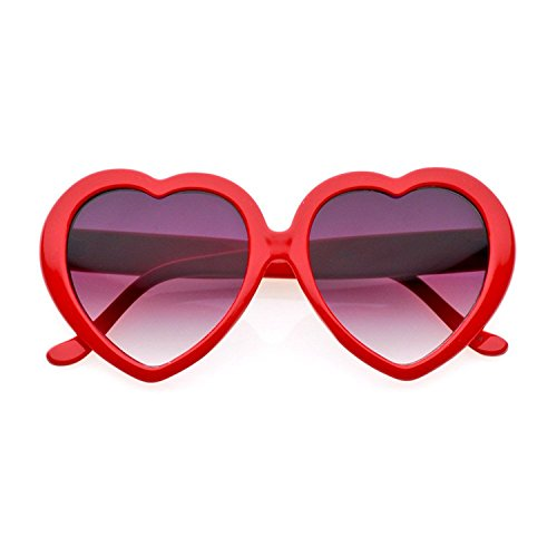 80's - 'Love' Heart shaped sunglasses (More Colors) - Red / Smoke -