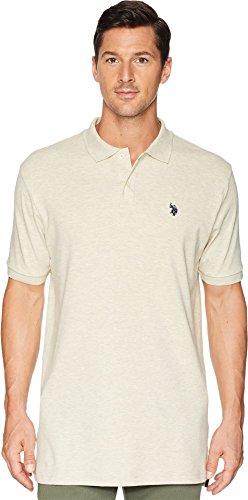 - U.S. Polo Assn.. Men's Solid Interlock Short-Sleeve Polo Shirt, Oatmeal Heather-3045, Large