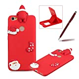 TPU Case for Xiaomi Redmi Note 5A,Soft Rubber Cover for Xiaomi Redmi Note 5A,Herzzer Ultra Slim Stylish 3D Christmas Santa Claus Series Design Scratch Resistant Shock Absorbing Flexible Silicone Back Case - Red