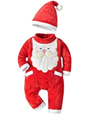 TOYANDONA Christmas Baby Jumpsuit Long Sleeve Santa Claus One-Piece Pajamas with Hat for Toddler Infant