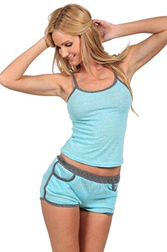 (INGEAR Sexy Pajama Sleepwear Camisole Top and Shorts Set Comfortable Nightwear (Medium, Heather Aqua))