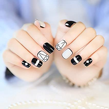 Amazon.com : CoolNail 24pcs DIY False Acrylic Nails Art Tips Diamond Model Black Edge White Triangle Full Cover Artificial Fake Lady Finger Nails : Beauty