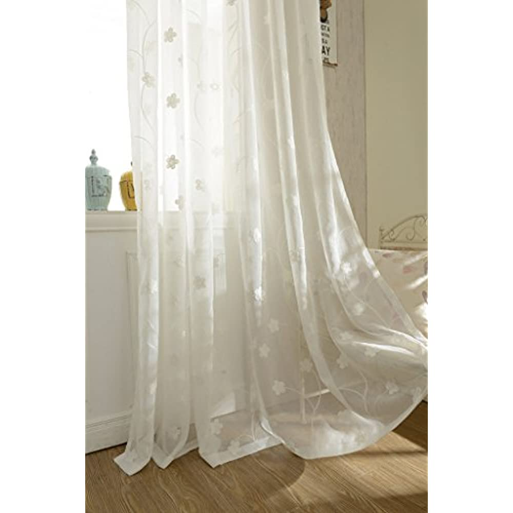 White Panels Sheer Curtains 63 Inches Length Flowers