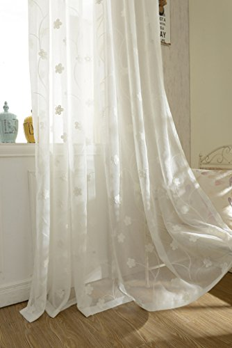 YouYee Semi-Sheer Elegant Embroidered Solid White Rod Pocket Window Curtains/Drape/Panels/Treatment 60 x 84 (Set of 2)