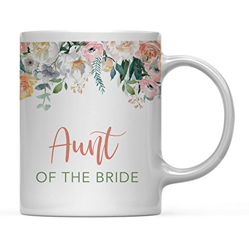 Andaz Press 11oz. Wedding Coffee Mug Gift, Peach Flowers Florals Roses, Aunt of The Bride, 1-Pack, Bridal Shower Birthday Christmas Thank You Gift for ()