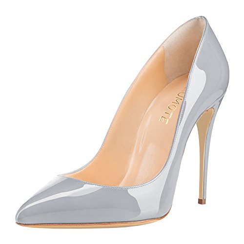 Middle Heels Shoes,MERUMOTE Women's Graident Stiletto Usual Pumps Grey-Patent