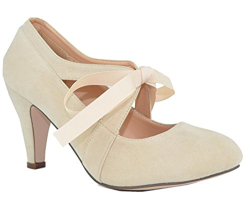 Chase & Chloe Womens Vintage Bow Mary Jane Pompa A Tacco Alto Nude