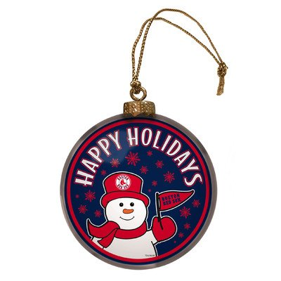 MLB Glass Disc Snowman Ornament MLB Team: Boston Red - Snowman Sox Boston Red