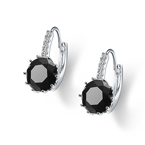 SWEETV Round Cubic Zirconia Leverback Earrings with Birthstone - Silver Plated Jewelry Gifts for Women Girls, (Black Stone Drop Earrings)