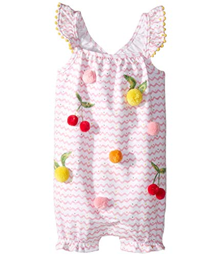Mud Pie Baby Girl's Pom Pom Fruit Bubble (Infant) Pink 0-3 Months