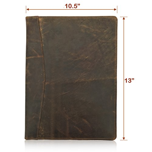 LEATHER PORTFOLIO Resume Folder Professional Padfolio, Legal Document Organizer, Folio for Letter-Sized/A4 Writing Pad with Business Card Holder, Ideal Gift Padfolios For Men & Women (Dark Brown)