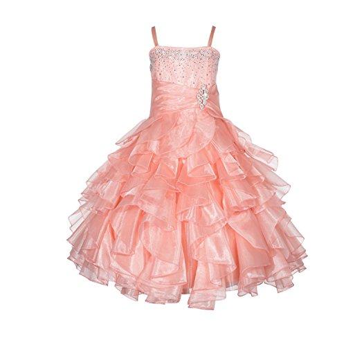 Elegant Stunning Rhinestone Organza Pleated Ruffled Flower girl dress 164s 8