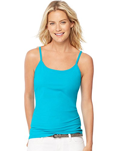 Hanes Women's Stretch Cotton Cami With Built-In Shelf Bra_Flying Turquoise_2XL