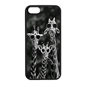 iPhone 5 5S Case,Cool Giraffes Sunglasses Cute Animal Black And White Hign Definition Design Cover With Hign Quality Rubber Plastic Protection Case