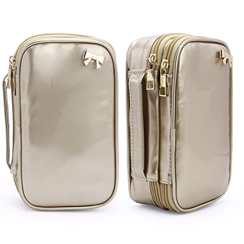 Makeup Bag, Small Cosmetic Organizer Travel Makeup Brush Bag Multifunctional Cosmetic Bag 2 Layer Makeup Pouch Holder Portable PU Leather Bag for Women (Champagne Gold)