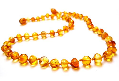 Amber Teething Necklace for Babies Amberta - Natural Soothing Effect, Anti Inflammatory, Teething Discomfort & Drooling Relief - 100% Pure Amber, Twist-in Screw Clasp, Handmade