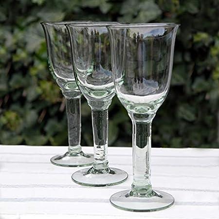 Dekocharme Juego de 6 copas de vino tinto y vino blanco, cristal reciclado, 200 ml