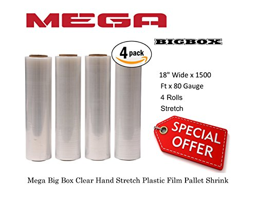 Mega Big Box 1 X Four (4) Plastic Shrink Stretch Wrap 445mm x 450m, 4RLS/CS