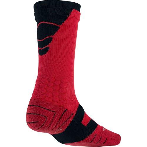Nike Men's Elite Vapor Cushioned Football Socks, color black/ red size large