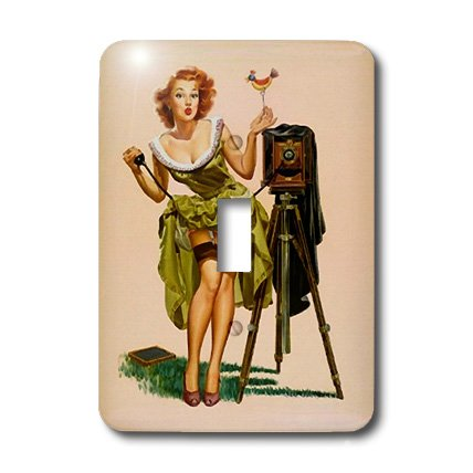 3dRose lsp_179635_1 Image of Elvgren Famous Pinup Camera Girl Light Switch Cover