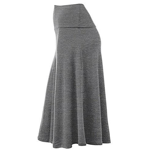 Vintage Patineuse Longue Taille Gris Haute Jupe Maxi Taille Long Base Mi Midi Chic Sixcup Rtro Jupe Jupe Extensible Femme Plisse v40wHK7q