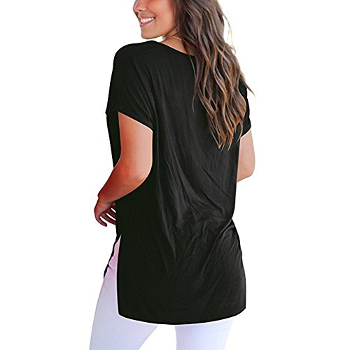 Courtes Hibote Noir Chemise Couleur Col Chemise Fit Tunique Doux Femme Blouse Loose Asymtrie Cut Hauts V Tshirt Confortable Casual Low Manches Solide grtrq