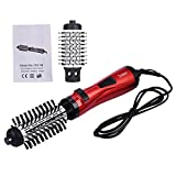 Professional Hair Dryer Machine Comb Auto-Rotating Brush 2 In 1 Multifunction Hair Curler Roller Curling Iron W Styling Red