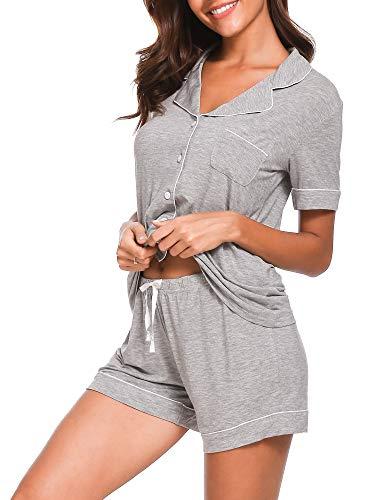 Seaside Women Button Pajamas Set AMP005 Grey M