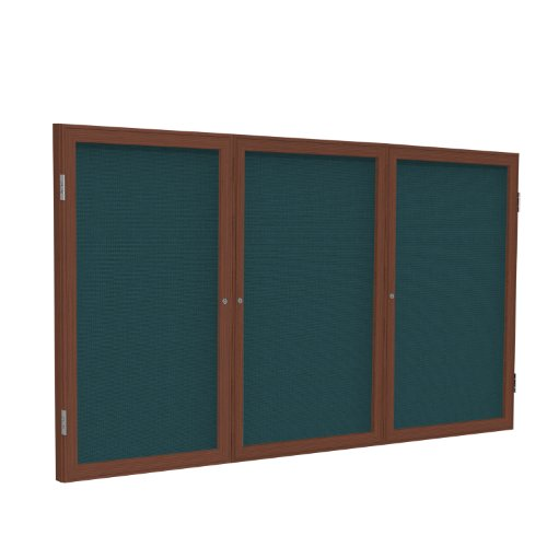 Nice 3 Door Enclosed Bulletin Board Size: 3' H x 6' W, Surface Color: Blue, Frame Finish: Cherry for sale