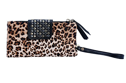 Bling Wallet Print Leopard Rivet Leopard Print Bags Clutch Leather PU TM Evening Purse niceEshop qT4tz