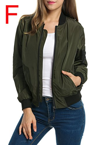 Zeagoo Women Classic Solid Biker Jacket Zip up Bomber Jacket Coat Army Green S by Zeagoo (Image #1)