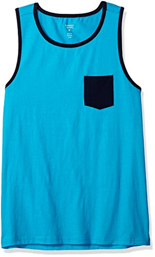 French Toast Men's Pocket Tank Top, Turquoise Reef, M