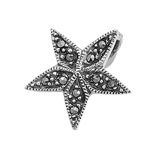 Star Pendant Simulated Marcasite .925 Sterling Silver Charm - Silver Jewelry Accessories Key Chain Bracelet Necklace Pendants