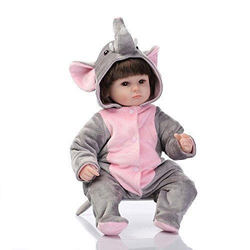 [Lifelike Reborn Baby Soft Vinyl Fake Girl Doll in Elephant Costumes 17-Inch Kids Festival Gifts] (Baby Doll In Box Costume)