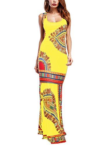 Amoretu Women's Tank Top Maxi Dress Sleeveless Boho Floral African Long Dresses (Yellow, S)