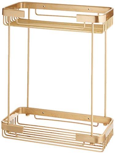 Allied Brass BSK-60DR-SBR Solid Double Rectangular Shower Basket, Satin Brass (Rectangular Shower Satin Basket)