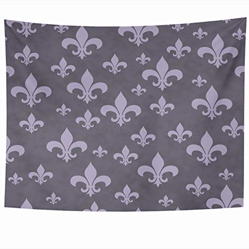 Ahawoso Tapestry 60x50 Inches Old Antique Purple Fleurdelis Pattern That Abstract French Classic Fleur Lis LYS Light Design Home Decor Wall Hanging Tapestries for Living Room Bedroom Dorm