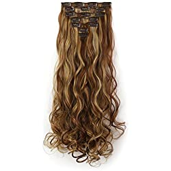 "Onedor 20"" Curly Full Head Clip in Synthetic Hair Extensions 7pcs 140g (12H24B)"