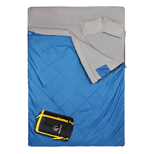 REDCAMP Double Sleeping Bag for Camping,2 Person Sleeping Bags with 2 Pillows, Queen Size Blue 3.3lbs Filling(75+12)