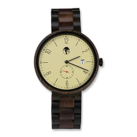 Viable Harvest Men's Antique Wood Watch, Organic Black Sandalwood and Walnut Wood Band with Gift (Men Antique Watch)