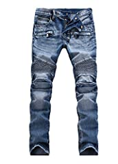 Men's vintage casual jeans,as a kind of actor pants,has a long life,the older the more tasted. There are many style to choose, all of them can match your T-shirt,jacket and Sneakers,classic and fashion.Easy wear clothing and easy care jeans. ...