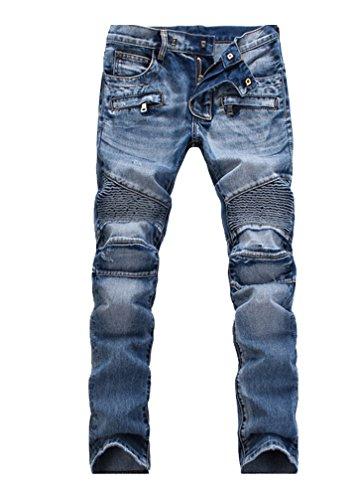 Lavnis Men's Slim Fit Vintage Distressed Motorcycle Jeans Runway Biker Denim Jeans Style 5-Blue-33