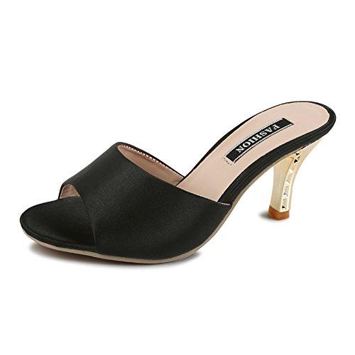 Mules Paul High Kevin Black Women's Slides Slippers Heels 5nZZf6xFv