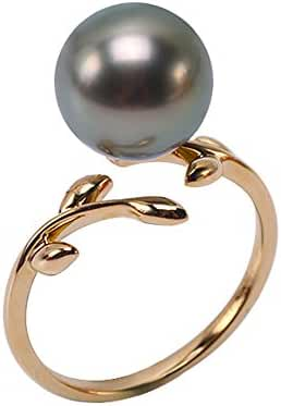 JYX 14K Gold 12mm Peacock Green Round South Sea Tahitian Cultured Pearl Ring