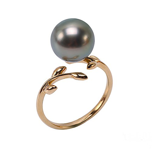 JYX 14K Gold 10mm Peacock Green Round South Sea Tahitian Cultured Pearl Ring