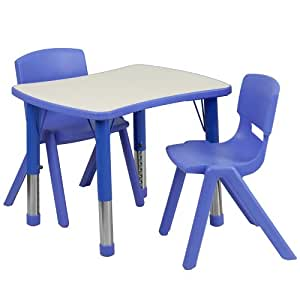 Flash Furniture Adjustable Rectangular Plastic Activity Table Set with 2 School Stack Chairs, 21.875 by 26.625-Inch, Blue