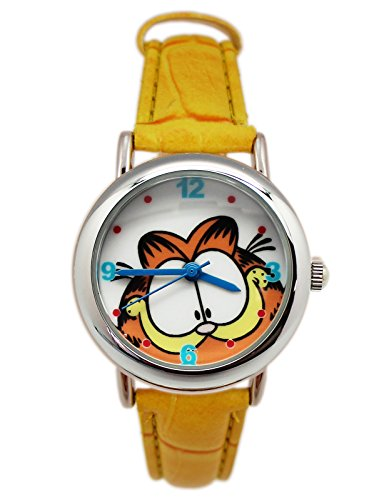 Yellow Garfield Face Ladies Fashion Leather Watch