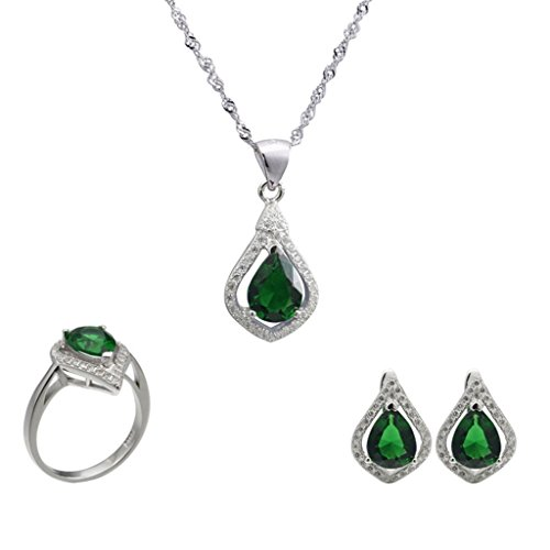Aooaz Womens Jewelry Set, Wedding Ring Earrings Necklace Green Pear Teardrop CZ Crystal Micro Pave CZ by Aooaz